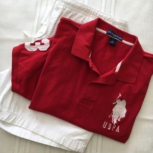 US Polo Assn Red Cotton Polo, sz XL